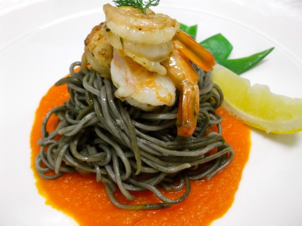 Squid ink Fettuccine with Cajun Prawn