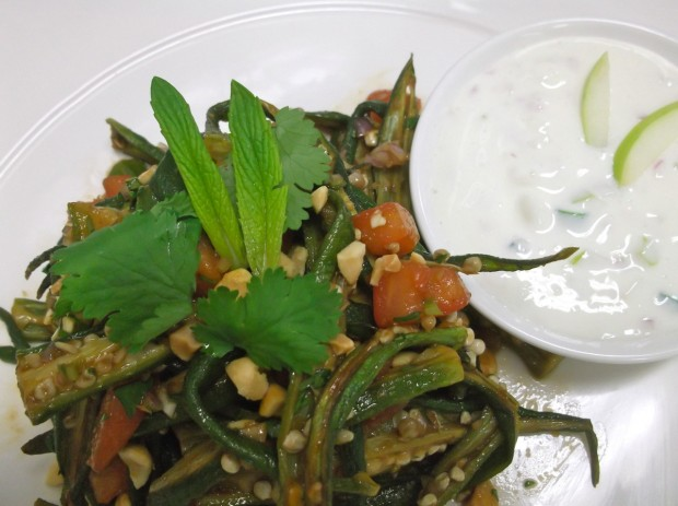 Spicy Fried Okra with Yoghurt Sauce