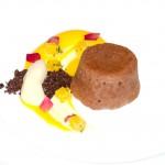Dark Chocolate Fondant, Orange Curd, Orange Salsa and Soil (1)