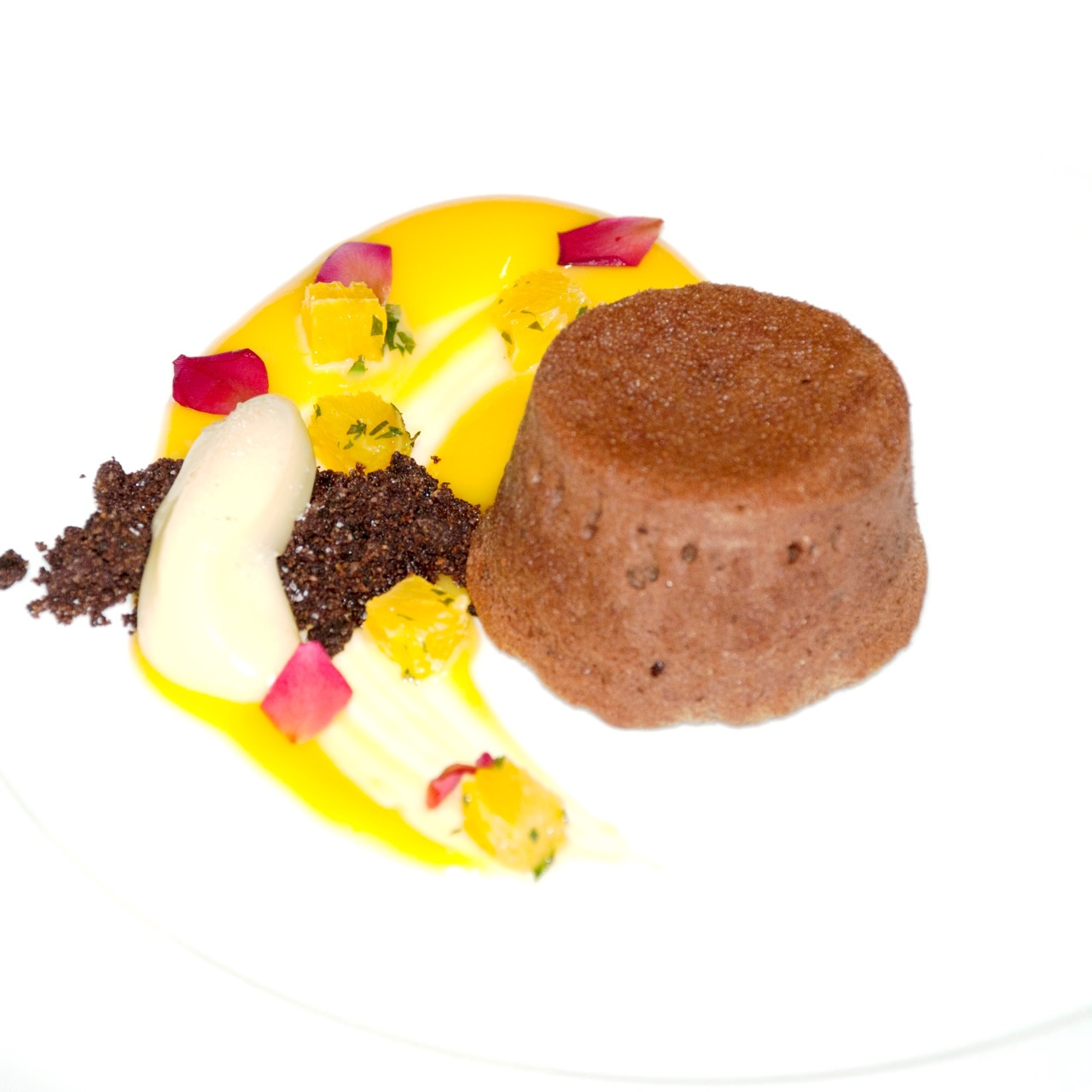 Dark Chocolate Fondant, Orange Curd, Orange Salsa and Soil (1)