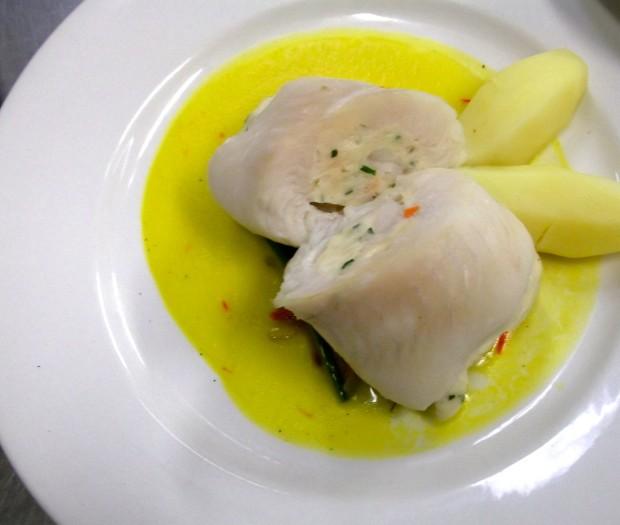 Fish Paupiette with saffron sauce