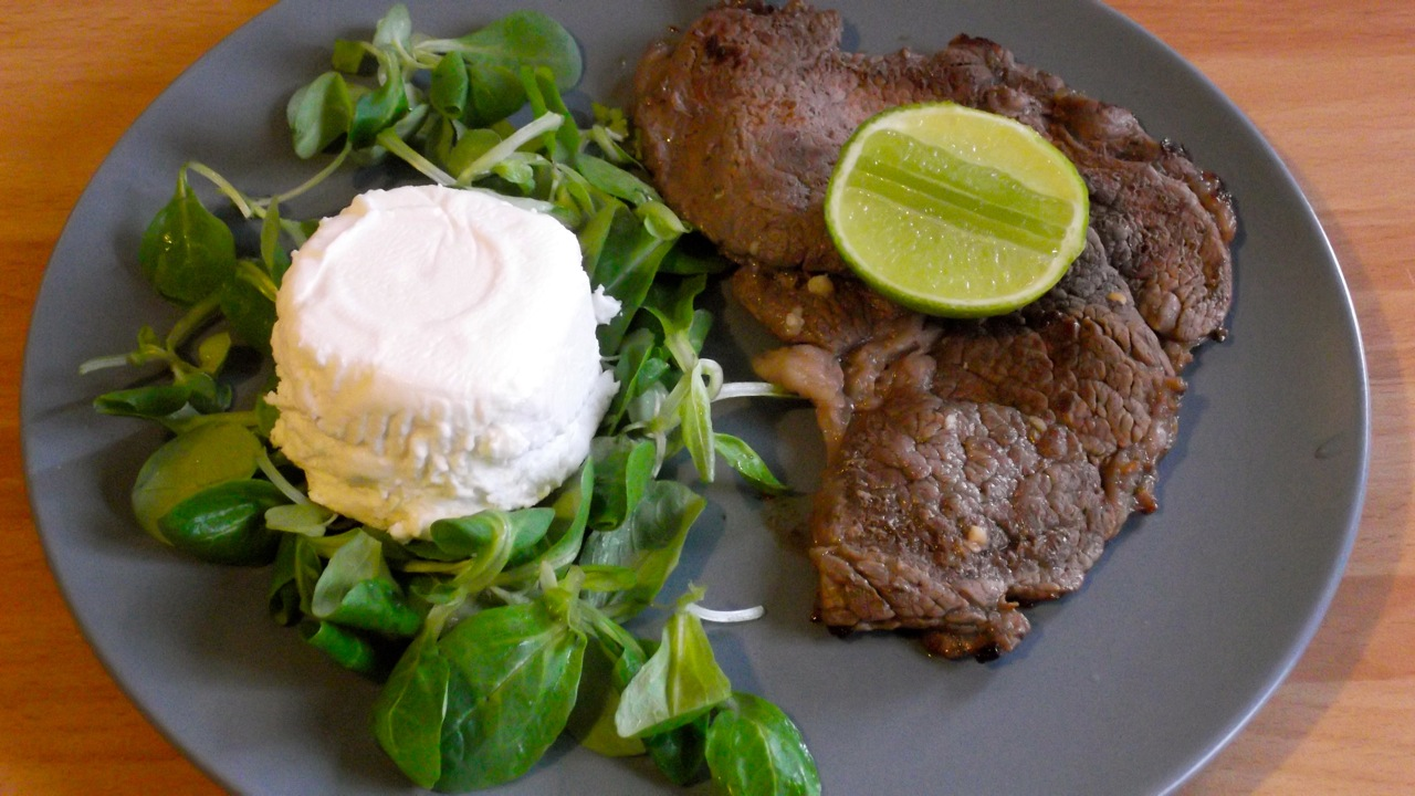 Lime marinated beef with goat cheese